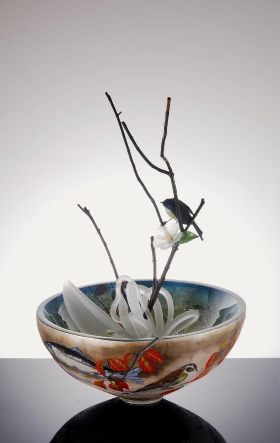 Artist: Hiroshi Yamano  Title: Drawing on the Vessel #8 Process: blown glass, engraving and cold works, painting, torch works Size: 25.25 x 15 x 15 Inches Year: 2016 Please contact the gallery for pricing  Habatat Galleries 248.554.0590 – info@habatat.com