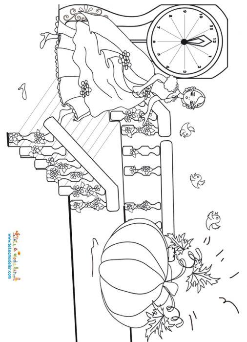 coloriage Minuit sonne la fin du charme de Cendrillon