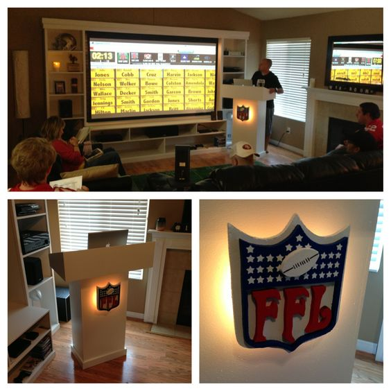 My fantasy football draft setup. Built the podium for my computer, and all the team managers came up and made there picks when it was there turn. Linked my Macbook to my projector so everyone could see what was going on during the draft.