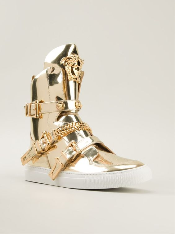 versace medusa gold leather hi top sneakers haute kicks. Black Bedroom Furniture Sets. Home Design Ideas