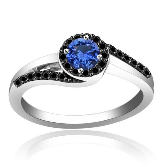 1 2 ct Blue Sapphire & Black Diamond Sterling Engagement Ring Women s
