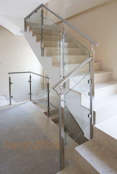 Barandilla en acero inoxidable aisi 304 montante de 40x40 - Escaleras de madera modernas ...