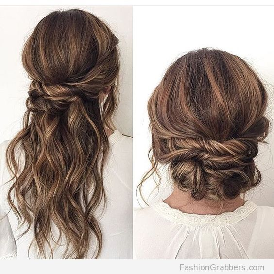 Halfway Up Hairstyle And Bun With Brunette Balayage Fashion Grabbers Hair Styles Wedding Hair Down Wedding Hair And Makeup