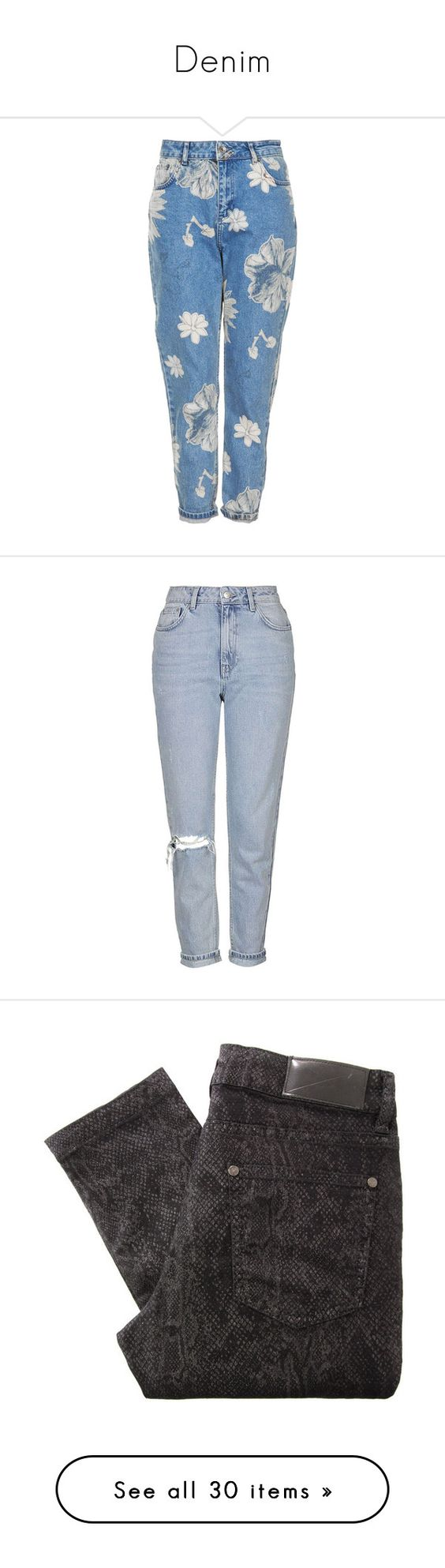 """""""Denim"""" by emmarussell84 ❤ liked on Polyvore featuring denim, jeans, pants, bottoms, trousers, mid stone, blue high waisted jeans, floral skinny jeans, high waisted jeans and blue floral jeans"""