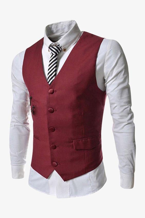 5-Button Vest In Burgundy