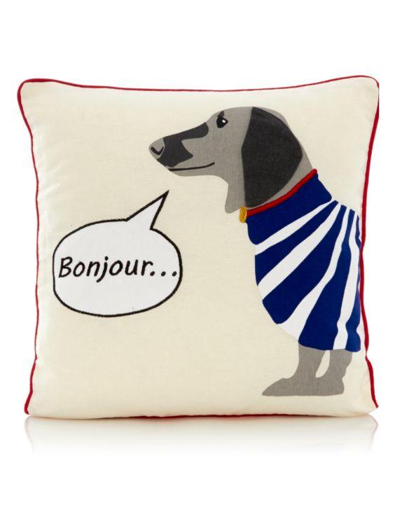 George Home Bonjour Dog Cushion - ?7 Asda Animal Lovers Pinterest Dog cushions, Dogs and ...