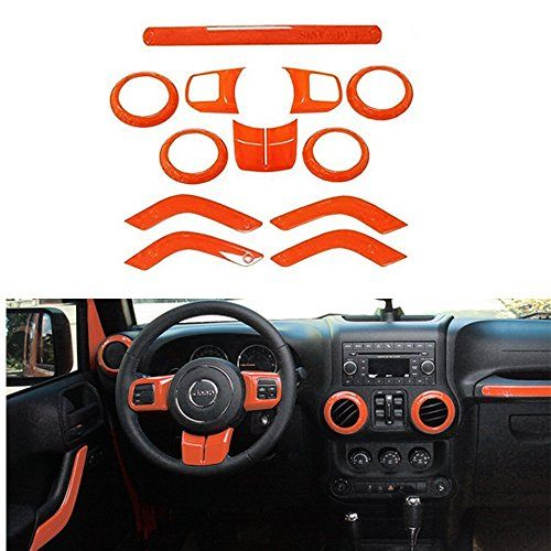 Opall Full Set Interior Decoration Trim Kit Steering Wheel Center Console Air Outlet Trim Door Handle Cover Inner For Jeep Wrangler Jk Jku 2011 2017 2 Door 4 Jeep Wrangler Jk Jeep