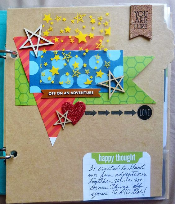 Bucket List title page. Using Simple stories kraft divider, plus project life cards