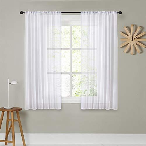 Mrtrees White Sheer Curtains 54 Inches Long Living Room C Https