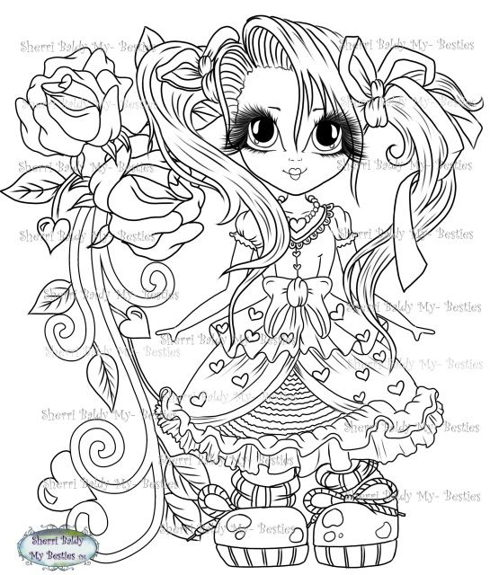 Instant Download My Besties Sweet Lil Things Tm Doll 1 Digi Stamp Cute Coloring Pages Digi Stamp Coloring Pages