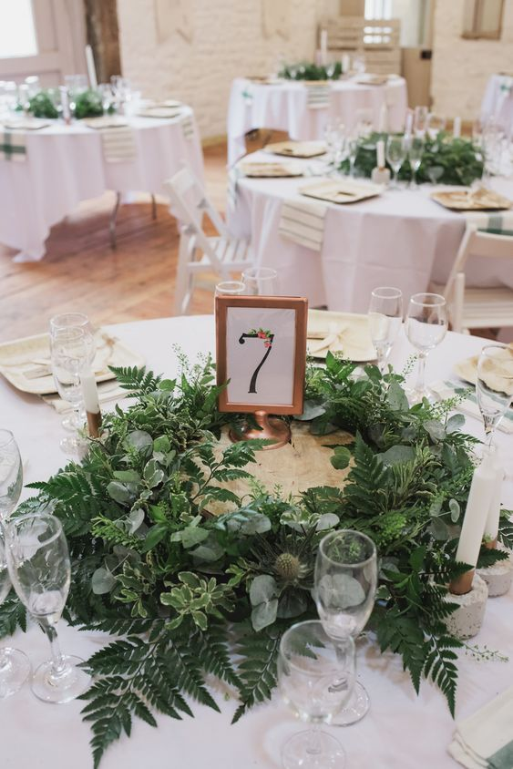 100 Most Charming Greenery Centerpiece Ideas Round The Greenery As A Circle Wi Round Wedding Tables Greenery Wedding Centerpieces Summer Wedding Decorations