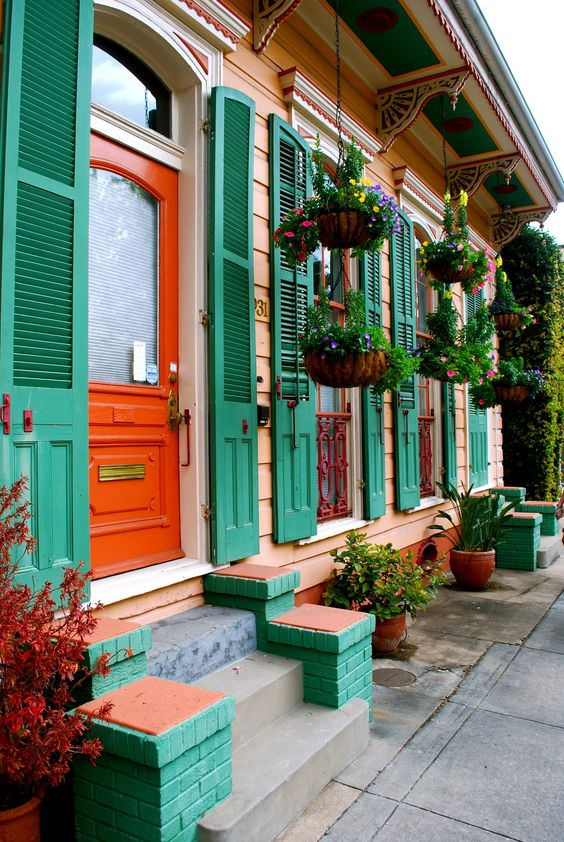 So Colourful And Fun House Paint And Hanging Pots New Orleans Style Pinterest Beautiful