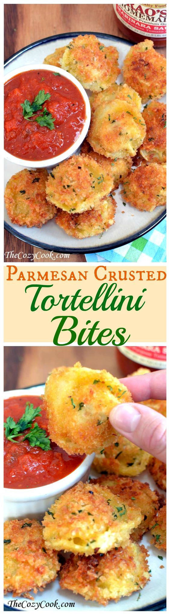 Parmesan Tortellini Bites Finger Foods Recipe via the cozy cook - The Best Easy Party Appetizers and Finger Foods Recipes - Quick family friendly snacks for Holidays, Tailgating and Super Bowl Parties! #horsdoeuvres #appetizers #fingerfoods #tapas #partyfood #christmaspartyfood #newyearsevepartyfood #newyearseve #tailgating #superbowl #easyappetizers