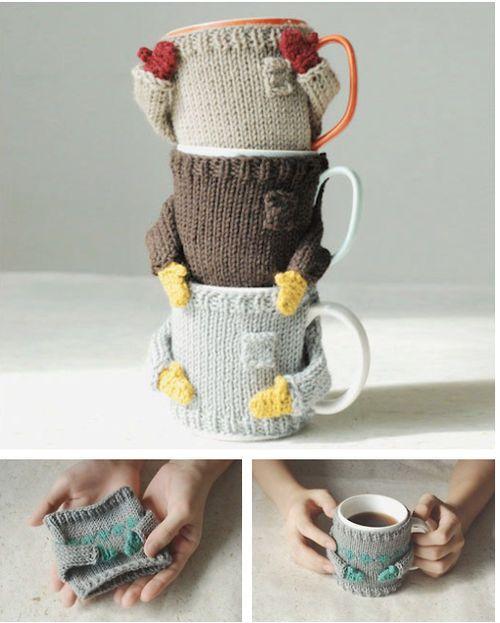warm beverage wearing a cozy sweater.