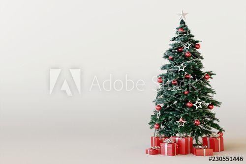 Christmas Tree With Red Gift Box On White Background 3d Rendering Rozhdestvenskaya Elka Illyustracii