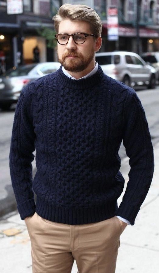 Fall business casual with a navy cable knit sweater white