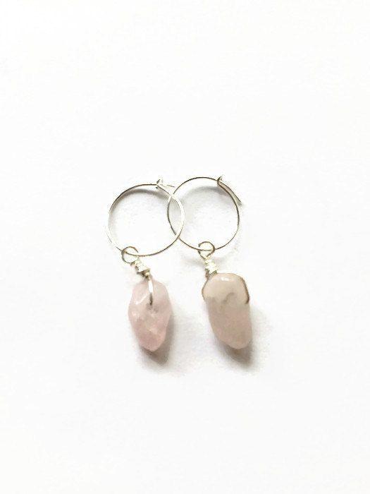 Rose Quartz Tiny Hoop Earrings Pink Rose Quartz Chip Hoop Earrings Semi Precious Rose Quartz Chip Gemstone Earrings (E269) by JulemiJewelry on Etsy
