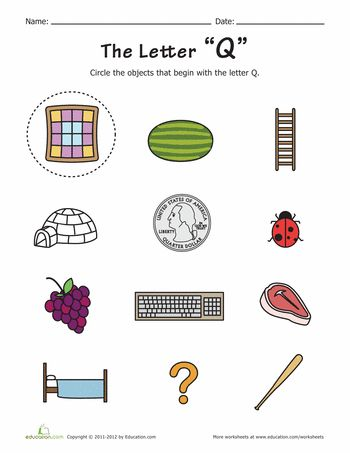 letters that start with q things that start with q worksheets 23393