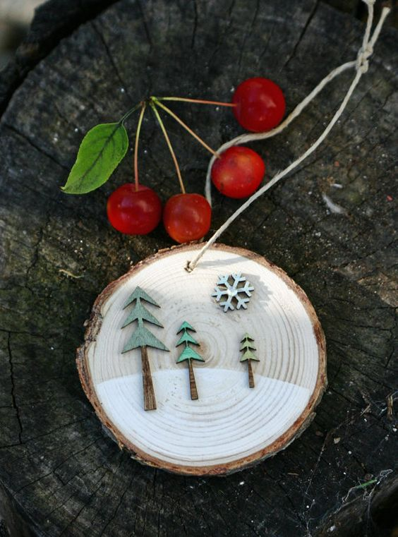 Wooden Tree Holiday Ornaments And Christmas Holidays On