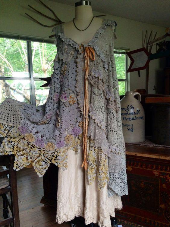 Luv Lucy Crochet Dress Misty Boho Gypsy by LuvLucyArtToWear, $350.00: