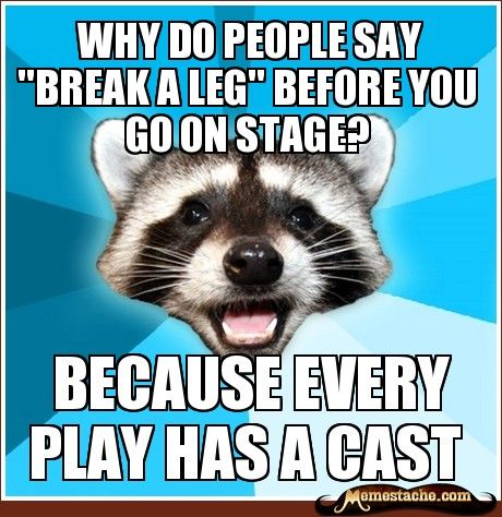 """Why do people say """"break a leg"""" before you go on stage? - Lame Pun Coon - Aug 3, 2012 - Memestache"""