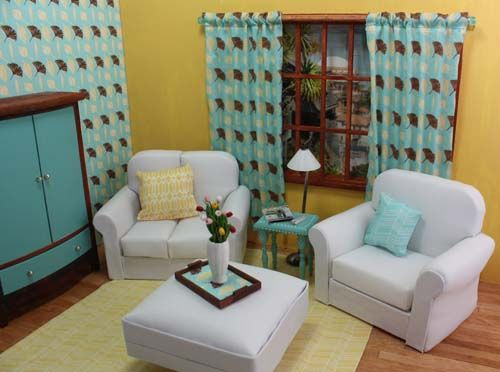 Dollhouse Mid Century Modern Living Room With #DIY