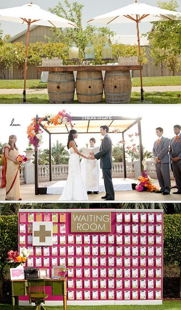Wine Barrell Bar: SMP  Simple Ceremony Stage + Waiting Room Guest Book: Ruffled