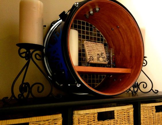 For the drummer in your life a re purposed bass drum for Repurposed drum shelf