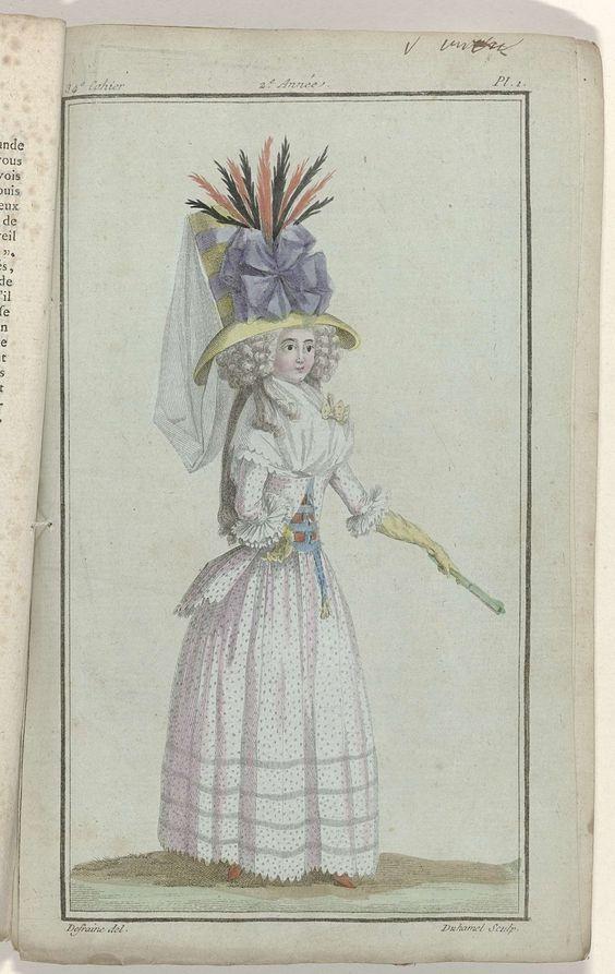 Magasin des Modes Nouvelles Françaises et Anglaises, 20 octobre 1787, 34e cahier, 2e année, Pl. 1, A.B. Duhamel, Buisson, 1787