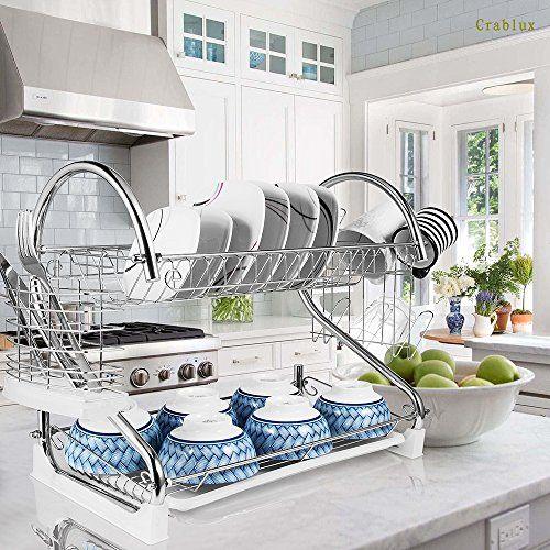 2 Tier Dish Rack And Drainboard 20 X15 X10 Kitchen Chr Https Www Amazon Com Dp B076t1q8f7 Dish Rack Drying Kitchen Utensil Rack Kitchen Utensil Holder