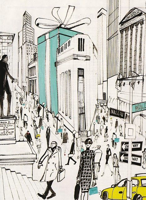 How cute would this be hanging next to my framed tiffany bag! big Tiffany box in New York: Tiffany S, Tiffany Box, Tiffany And Co, Tiffany Blue, Breakfast At Tiffanys, Fashion Illustration, Things Tiffany, Nyc Tiffany