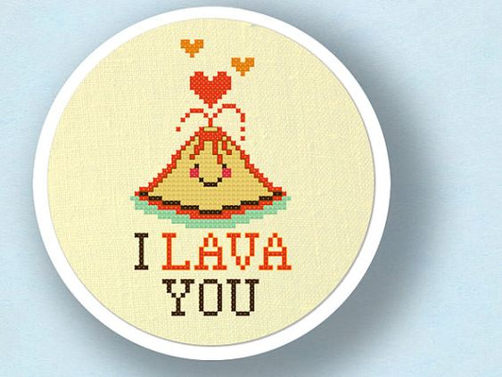I Lava YouCute Erupting Heart Volcano Pun Cross Stitch PDF