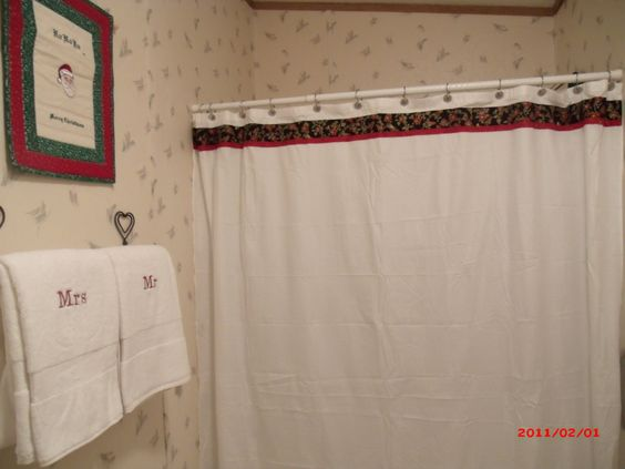 Christmas Shower Curtain and towel set, Poinsettia Shower Curtain, Mr u0026 Mrs  Towels,