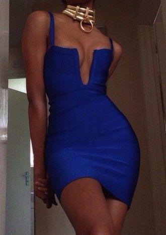 dress blue dress cobalt blue plunge dress plunge v neck bodycon dress gloves jewels