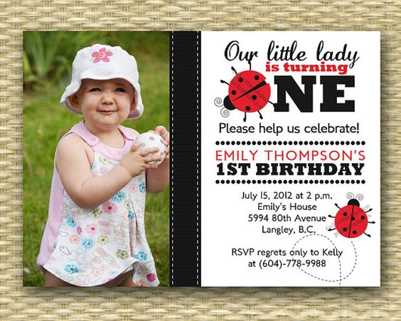 Ladybug First Birthday Invitation 1st Birthday Photo Card – Custom 1st Birthday Invitations