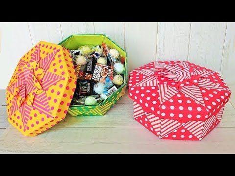 実用使い 4方向つなげるパーツで作った フタ付き大きめ八角箱 Youtube 折り紙 簡単 折り紙の箱 折り紙 箱 の 作り方