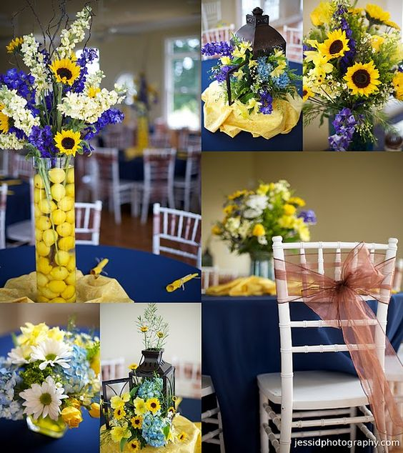 Layout. Five. Sunflowers. Blue And Yellow. Wedding