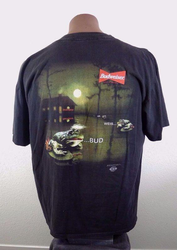 Vintage Anheuser Busch Budweiser Beer Frogs Black T Shirt 1995 XL