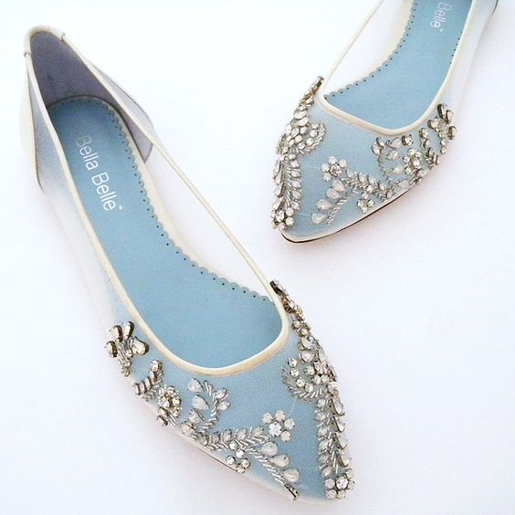 Perfect Details. Willow Crystal Beaded Bridal Flats. The glass slipper redefined. Sparkling clear and white opal crystals are joined by silver bugle beads and sequins covering the toe area of these stunning ivory flat wedding shoes.