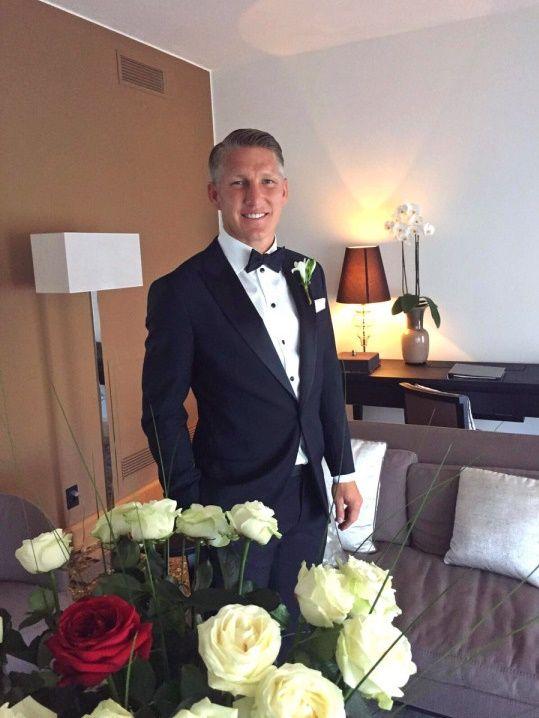 Fussballgott in his wedding suit. A little bit teary-eyed now. He is gone forever. Waaaaaah!!!! #Bastiana #Fussballgott #Bastian #Schweinsteiger #DieMannschaft #Wedding #July132016