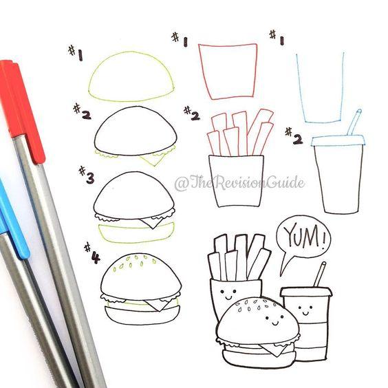 how to draw kawaii food step by step