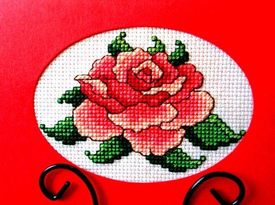 Cross Stitch Card Dark Pink Rose All by theelegantstitchery, $15.00
