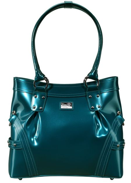 Head Over Heels (Teal)    Dimensions: 13″ L x 4″ W x 11.5″ H - Strap Length: 10″ - Opening: 5″ - Trim Colors: None - SRP: $129.00 - Available In: Charcoal, Chocolate, Fuchsia, Lipstick Red, Moss, Platinum, Teal