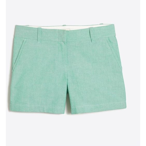 """J.Crew 5"""" oxford short ($20) ❤ liked on Polyvore featuring shorts, zipper shorts, j crew shorts, j crew oxford, short cotton shorts and cotton shorts"""