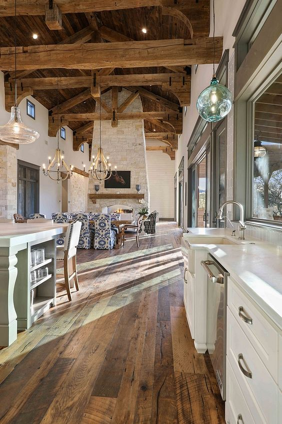 Kitchen With Real Reclaimed Plank Hardwood Flooring Barn Wood Shiplap Ceiling And 100 Year Old Timber Beams And Rafters Ki Home Barn Wood Decor House Interior