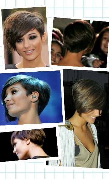 Frankie Sandford. I think this ismy best bet for short asym hair post surgery... Time to accessorize and put on more makeup so I don't look like a boy
