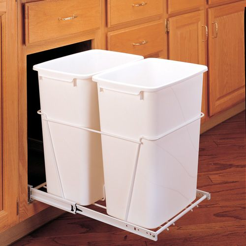 kitchen cabinet storage solutions | Double Pull Out Trash Bin ...
