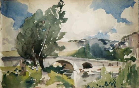 The old bridge - H. Zuber - Mailly 1895 - Watercolor - Priv. coll.