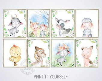 Farm Nursery Animal Prints Set 8 Neutral Baby Shower Printables