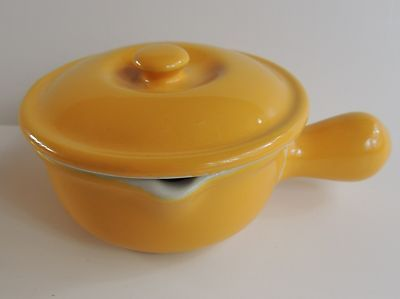 Vintage Hall China Pottery Soup Bowl Bean Pot Casserole Handle Yellow Spout Lid